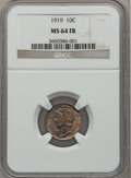 Mercury Dimes: , 1919 10C MS64 Full Bands NGC. NGC Census: (112/70). PCGS Population(209/198). Mintage: 35,740,000. Numismedia Wsl. Price f...