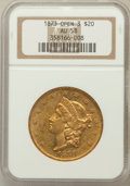 Liberty Double Eagles: , 1873 $20 Open 3 AU58 NGC. NGC Census: (2216/3700). PCGS Population(711/2825). Numismedia Wsl. Price for problem free NGC/...