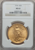 Saint-Gaudens Double Eagles: , 1914 $20 MS62 NGC. NGC Census: (572/701). PCGS Population(515/1165). Mintage: 95,200. Numismedia Wsl. Price for problemfr...