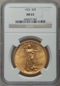 Saint-Gaudens Double Eagles: , 1922 $20 MS63 NGC. NGC Census: (20188/8051). PCGS Population(14042/8494). Mintage: 1,375,500. Numismedia Wsl. Price for pr...