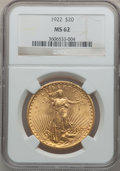 Saint-Gaudens Double Eagles: , 1922 $20 MS62 NGC. NGC Census: (18144/28239). PCGS Population(11340/22536). Mintage: 1,375,500. Numismedia Wsl. Price for ...