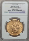 Liberty Double Eagles, 1876-S $20 -- Obverse Scratched -- NGC Details. Unc. NGC Census:(380/1354). PCGS Population (259/1139). Mintage: 1,597,000...