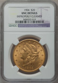 Liberty Double Eagles: , 1904 $20 -- Improperly Cleaned -- NGC Details. Unc. NGC Census:(2925/207559). PCGS Population (3590/159526). Mintage: 6,25...