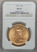 Saint-Gaudens Double Eagles: , 1925 $20 MS64 NGC. NGC Census: (15382/4712). PCGS Population(12657/6806). Mintage: 2,831,750. Numismedia Wsl. Price for pr...