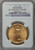 Saint-Gaudens Double Eagles, 1927 $20 -- Reverse Improperly Cleaned -- NGC Details. Unc. NGCCensus: (361/135693). PCGS Population (888/134768). Mintage...
