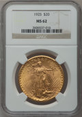 Saint-Gaudens Double Eagles: , 1925 $20 MS62 NGC. NGC Census: (11058/37580). PCGS Population(8131/33594). Mintage: 2,831,750. Numismedia Wsl. Price for p...