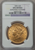 Liberty Double Eagles: , 1898 $20 -- Improperly Cleaned -- NGC Details. Unc. NGC Census:(101/1326). PCGS Population (55/1050). Mintage: 170,300. Nu...