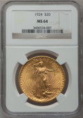 Saint-Gaudens Double Eagles: , 1924 $20 MS64 NGC. NGC Census: (101192/36987). PCGS Population(81158/47625). Mintage: 4,323,500. Numismedia Wsl. Price for...