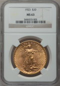 Saint-Gaudens Double Eagles: , 1923 $20 MS63 NGC. NGC Census: (10570/2533). PCGS Population(8605/4019). Mintage: 566,000. Numismedia Wsl. Price for probl...
