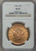 Liberty Double Eagles: , 1900 $20 MS63 NGC. NGC Census: (16321/4785). PCGS Population(10797/4167). Mintage: 1,874,584. Numismedia Wsl. Price for pr...