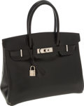 Luxury Accessories:Bags, Hermes 30cm Black Calf Box Leather Birkin Bag with Palladium Hardware. ...
