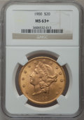 Liberty Double Eagles: , 1900 $20 MS63+ NGC. NGC Census: (16321/4785). PCGS Population(10797/4167). Mintage: 1,874,584. Numismedia Wsl. Price for p...