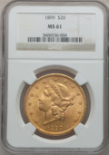 Liberty Double Eagles: , 1899 $20 MS61 NGC. NGC Census: (5318/15848). PCGS Population(3222/8394). Mintage: 1,669,384. Numismedia Wsl. Price for pro...
