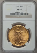 Saint-Gaudens Double Eagles: , 1926 $20 MS64 NGC. NGC Census: (9072/3766). PCGS Population(7187/4684). Mintage: 816,750. Numismedia Wsl. Price for proble...
