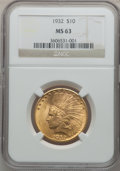 Indian Eagles: , 1932 $10 MS63 NGC. NGC Census: (21534/13040). PCGS Population(17976/9942). Mintage: 4,463,000. Numismedia Wsl. Price for p...