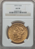 Liberty Double Eagles: , 1874-S $20 AU58 NGC. NGC Census: (1197/592). PCGS Population(293/404). Mintage: 1,214,000. Numismedia Wsl. Price for probl...