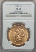 Liberty Double Eagles: , 1876-S $20 AU58 NGC. NGC Census: (2190/1734). PCGS Population(685/1398). Mintage: 1,597,000. Numismedia Wsl. Price for pro...