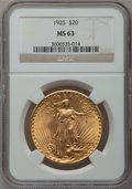 Saint-Gaudens Double Eagles: , 1925 $20 MS63 NGC. NGC Census: (17486/20094). PCGS Population(14131/19463). Mintage: 2,831,750. Numismedia Wsl. Price for ...
