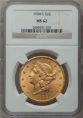 Liberty Double Eagles: , 1904-S $20 MS62 NGC. NGC Census: (7791/11461). PCGS Population(6453/9241). Mintage: 5,134,175. Numismedia Wsl. Price for p...