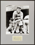 Baseball Collectibles:Others, Paul Waner Signed Cut Signature Display....