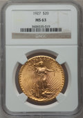 Saint-Gaudens Double Eagles: , 1927 $20 MS63 NGC. NGC Census: (40240/71932). PCGS Population(37224/74348). Mintage: 2,946,750. Numismedia Wsl. Price for ...
