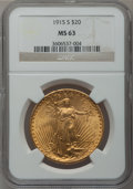 Saint-Gaudens Double Eagles: , 1915-S $20 MS63 NGC. NGC Census: (5374/7296). PCGS Population(3981/6289). Mintage: 567,500. Numismedia Wsl. Price for prob...