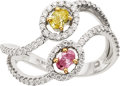 Estate Jewelry:Rings, Fancy Vivid Colored Diamond, Diamond, Platinum Ring. ...