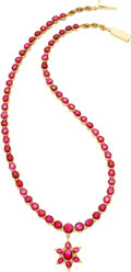 Estate Jewelry:Necklaces, Ruby, Gold Necklace. ...