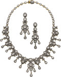 Estate Jewelry:Suites, Diamond, Silver-Topped Gold Jewelry Suite. ...