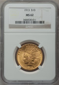 Indian Eagles: , 1913 $10 MS62 NGC. NGC Census: (1809/1153). PCGS Population(1643/1094). Mintage: 442,071. Numismedia Wsl. Price for proble...