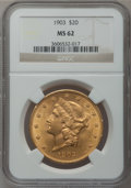 Liberty Double Eagles: , 1903 $20 MS62 NGC. NGC Census: (2938/7832). PCGS Population(2365/6424). Mintage: 287,200. Numismedia Wsl. Price for proble...