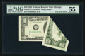 Error Notes:Foldovers, Fr. 2027-G $10 1985 Federal Reserve Note. PMG About Uncirculated 55.. ...