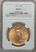 Saint-Gaudens Double Eagles: , 1922 $20 MS64+ NGC. NGC Census: (7569/482). PCGS Population(7255/1239). Mintage: 1,375,500. Numismedia Wsl. Price for prob...