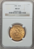 Liberty Eagles: , 1901 $10 MS63 NGC. NGC Census: (6225/3259). PCGS Population(3836/2078). Mintage: 1,718,825. Numismedia Wsl. Price for prob...