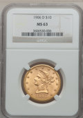 Liberty Eagles: , 1906-D $10 MS63 NGC. NGC Census: (600/177). PCGS Population(452/215). Mintage: 981,000. Numismedia Wsl. Price for problem ...