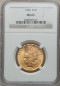 Indian Eagles: , 1926 $10 MS63 NGC. NGC Census: (12629/4826). PCGS Population(10383/3519). Mintage: 1,014,000. Numismedia Wsl. Price for pr...
