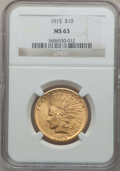 Indian Eagles: , 1915 $10 MS63 NGC. NGC Census: (389/536). PCGS Population(474/335). Mintage: 351,075. Numismedia Wsl. Price for problemfr...
