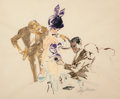 Paintings, LEROY NEIMAN (American, b. 1926). Linda Entertaining, Playboy illustration. Pencil and watercolor on paper. 16 x 19.5 in...