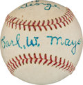 Baseball Collectibles:Balls, Circa 1960 Carl Mays Single Signed Baseball....