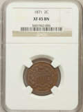 Two Cent Pieces, 1871 2C XF45 NGC. NGC Census: (10/258). PCGS Population (30/281).Mintage: 721,100. Numismedia Wsl. Price for problem free ...
