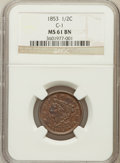 Half Cents, 1853 1/2 C MS61 Brown NGC. C-1. NGC Census: (59/605). PCGSPopulation (4/391). Mintage: 129,694. Numismedia Wsl. Price for ...