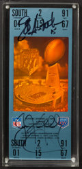 Football Collectibles:Tickets, 1991 Jeff Hostetler and Jim Kelly Multi Signed Super Bowl XXV Block (Replica) Ticket....