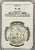 Morgan Dollars: , 1891-O $1 MS63 NGC. NGC Census: (1486/1086). PCGS Population(2094/1460). Mintage: 7,954,529. Numismedia Wsl. Price for pro...