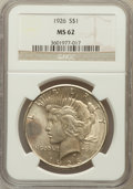 Peace Dollars: , 1926 $1 MS62 NGC. NGC Census: (712/6440). PCGS Population(960/7788). Mintage: 1,939,000. Numismedia Wsl. Price forproblem...