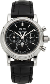 Patek Philippe Ref. 5004P Extremely Rare And Important Platinum Wristwatch With Split-Seconds Chronograph, Registers, Pe...
