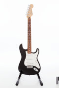 Musical Instruments:Electric Guitars, 2000 Fender Standard Stratocaster Black Solid Body Electric Guitar,Serial # MZ0011926....