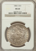 Morgan Dollars: , 1886-S $1 MS60 NGC. NGC Census: (43/2711). PCGS Population(76/4602). Mintage: 750,000. Numismedia Wsl. Price for problem f...