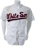 Baseball Collectibles:Uniforms, 1990 Carlton Fisk Game Issued Signed Chicago White Sox Jersey. ...