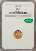 Gold Dollars: , 1889 G$1 MS65 NGC. CAC. NGC Census: (317/474). PCGS Population(477/542). Mintage: 29,000. Numismedia Wsl. Price for proble...