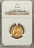 Indian Half Eagles: , 1913 $5 MS62 NGC. NGC Census: (4226/1578). PCGS Population(2756/1959). Mintage: 915,900. Numismedia Wsl. Price for problem...